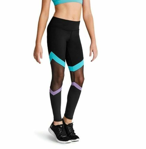 Kaia By Bloch Girls Mesh Contrast Panelled Full length Leggings Dance Gym Acro